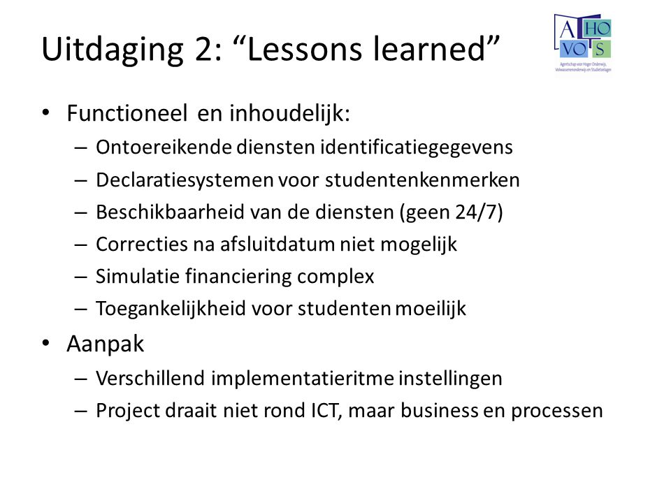 Uitdaging 2: Lessons learned