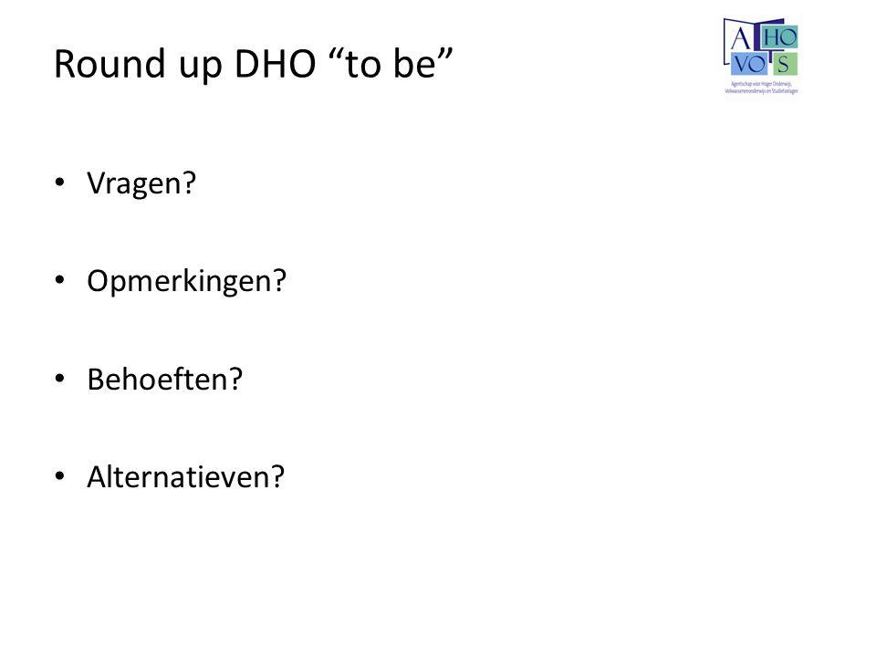 Round up DHO to be Vragen Opmerkingen Behoeften Alternatieven