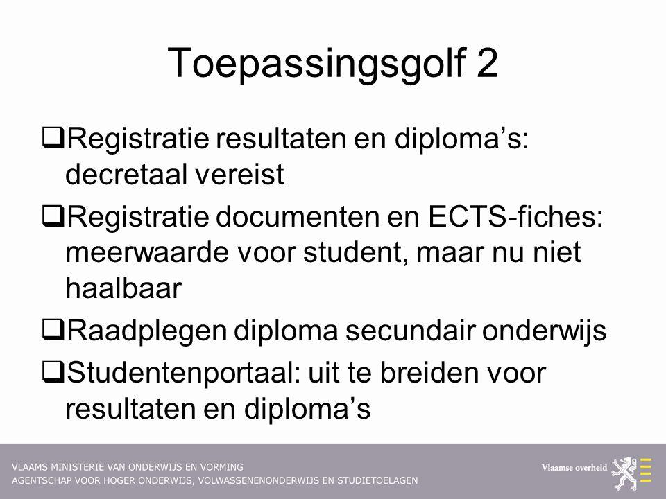 Toepassingsgolf 2 Registratie resultaten en diploma's: decretaal vereist.