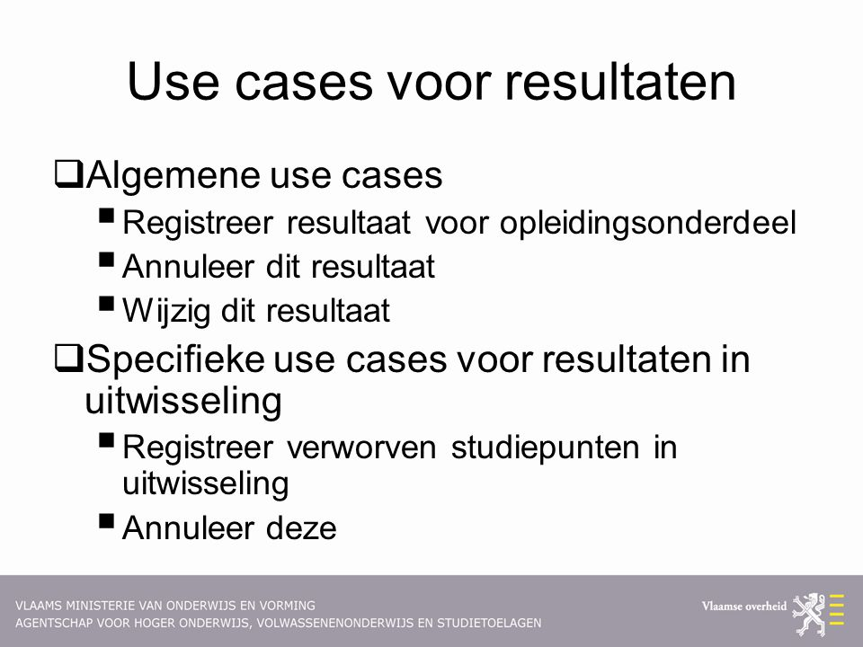 Use cases voor resultaten