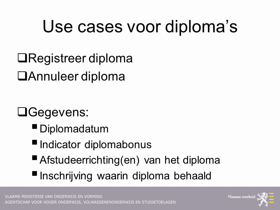 Use cases voor diploma's
