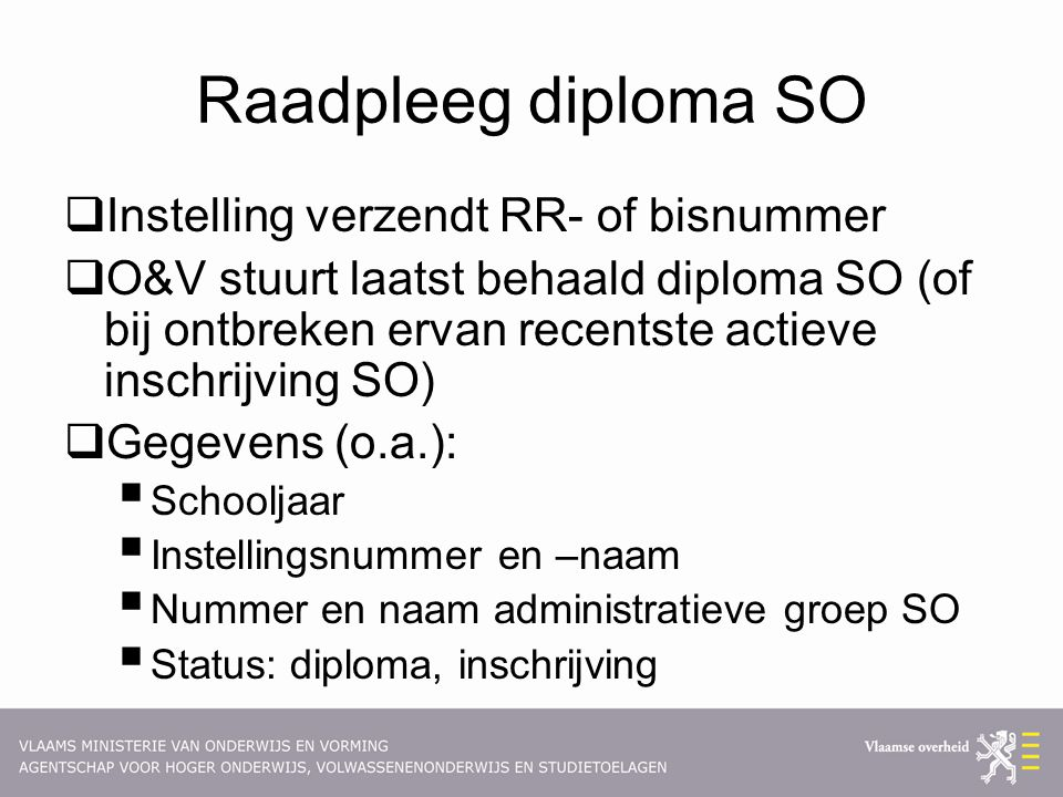 Raadpleeg diploma SO Instelling verzendt RR- of bisnummer