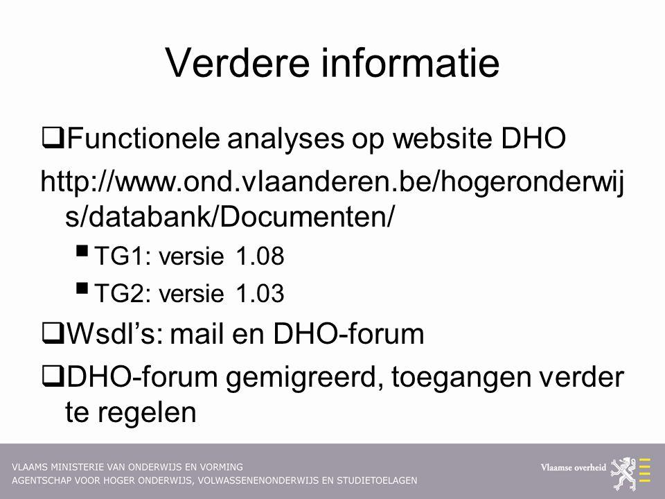 Verdere informatie Functionele analyses op website DHO
