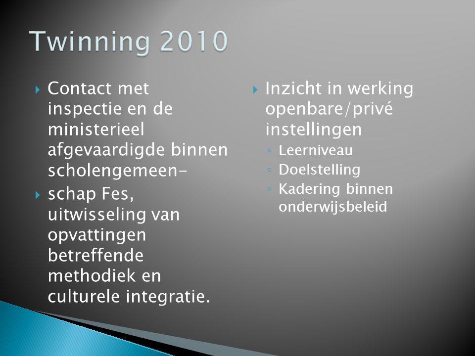 Twinning 2010 Contact met inspectie en de ministerieel afgevaardigde binnen scholengemeen-