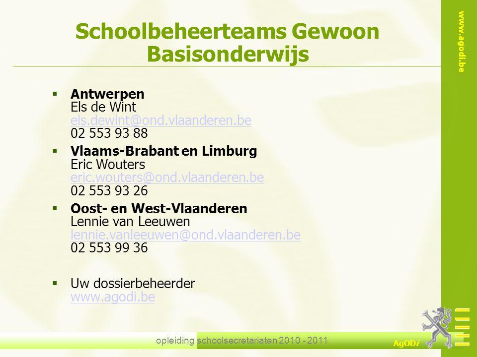 Schoolbeheerteams Gewoon Basisonderwijs