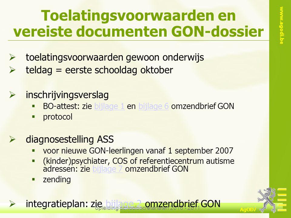 Toelatingsvoorwaarden en vereiste documenten GON-dossier