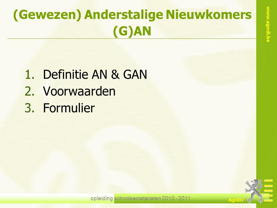 (Gewezen) Anderstalige Nieuwkomers (G)AN