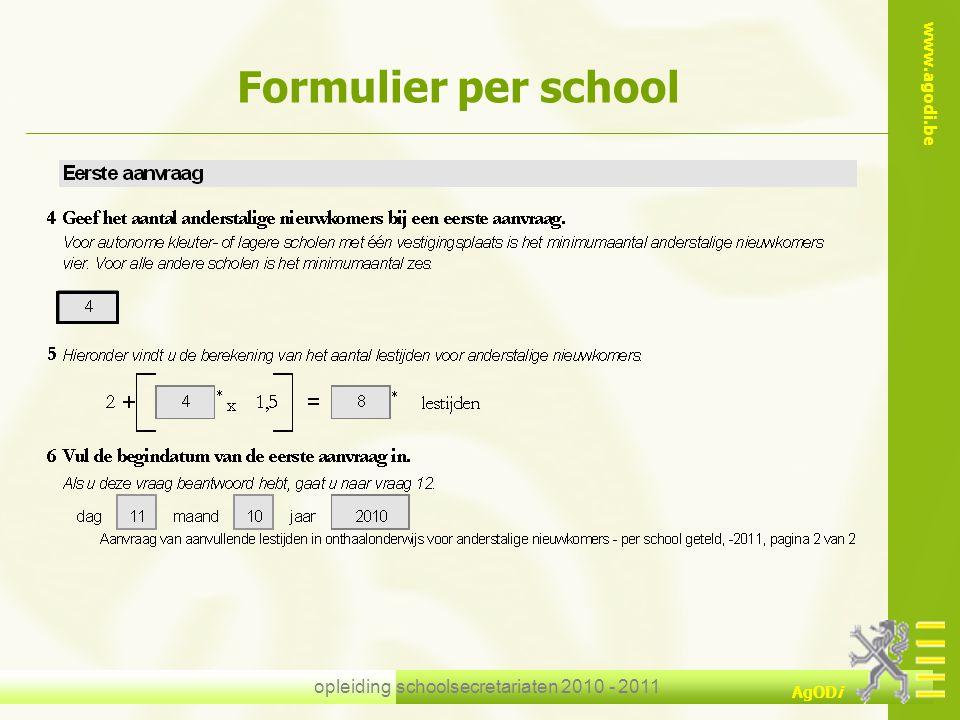opleiding schoolsecretariaten 2010 - 2011