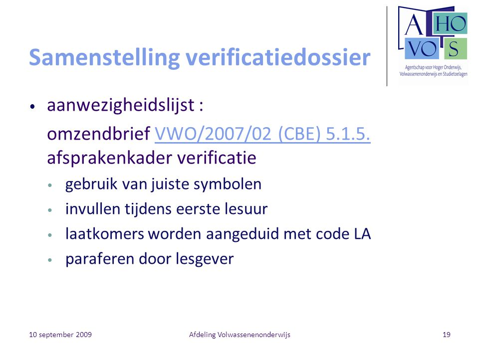 Samenstelling verificatiedossier