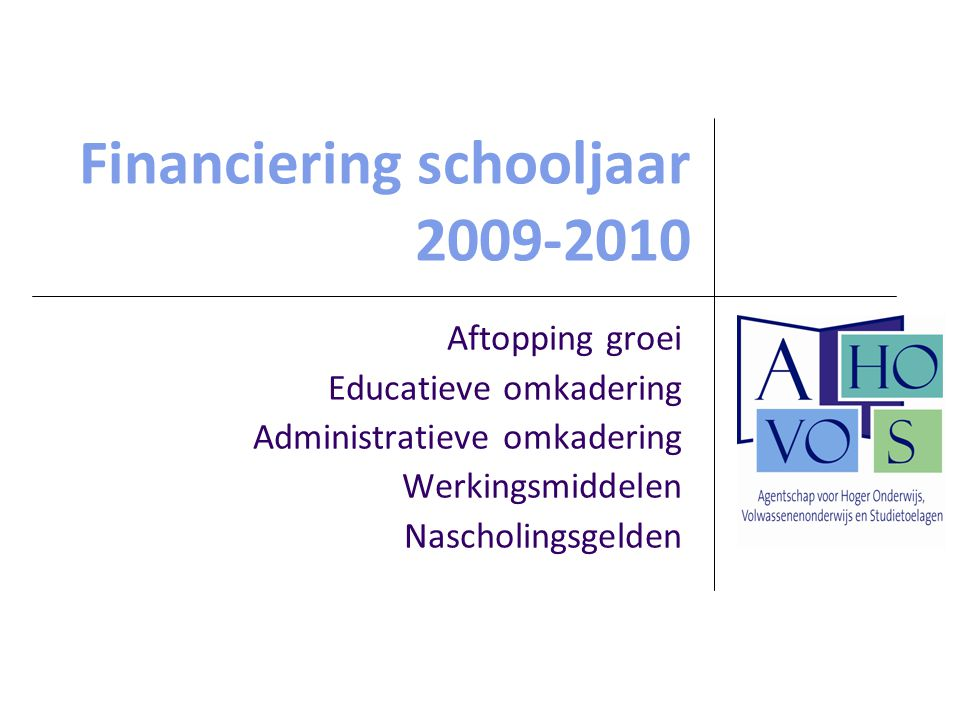Financiering schooljaar 2009-2010