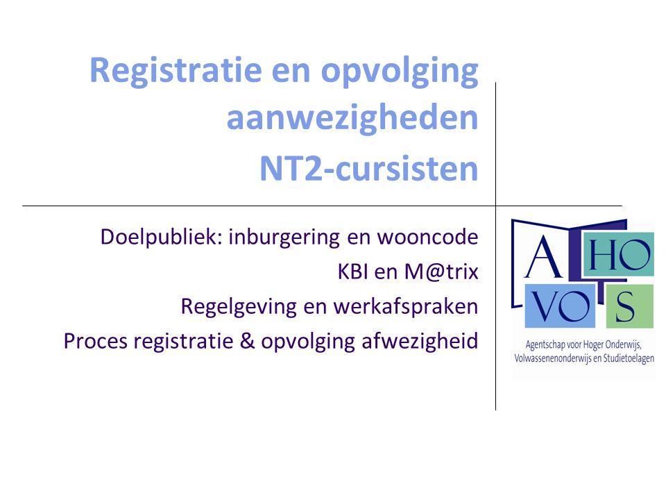 Registratie en opvolging aanwezigheden NT2-cursisten