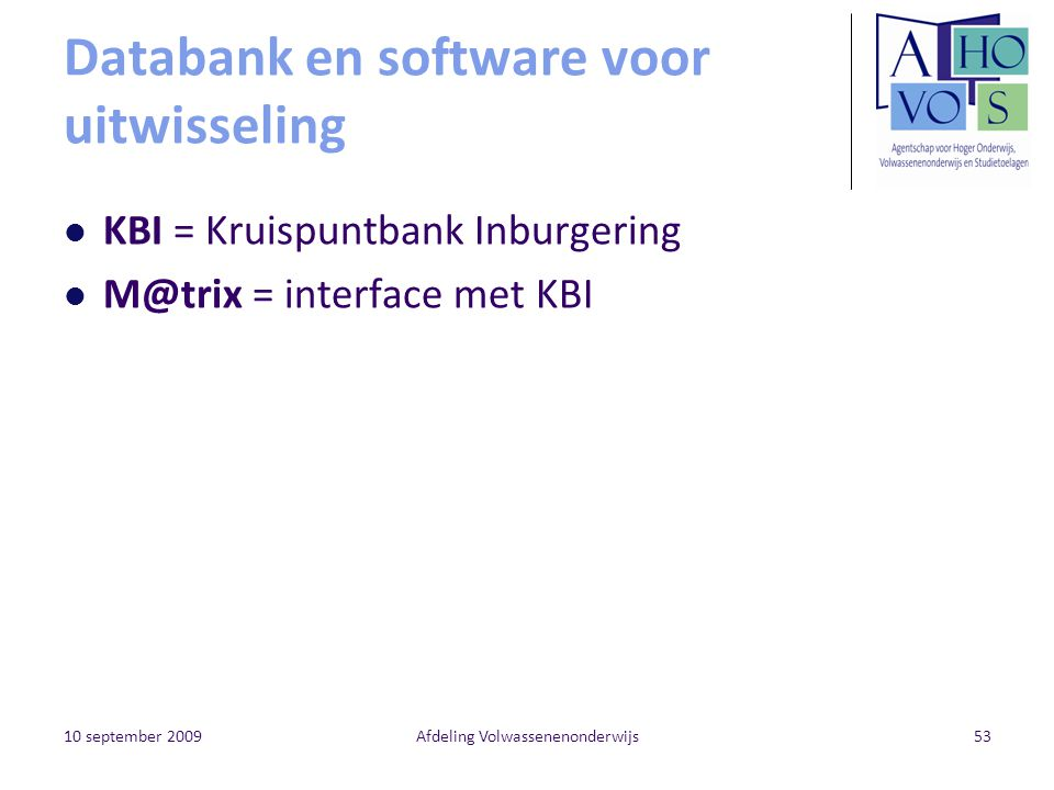 Databank en software voor uitwisseling