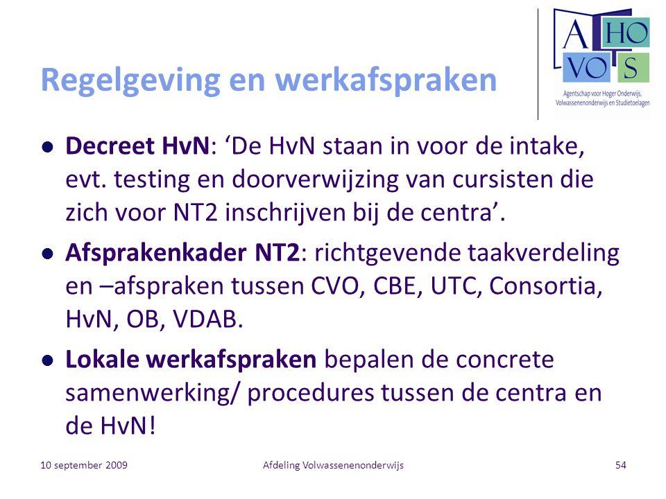 Regelgeving en werkafspraken