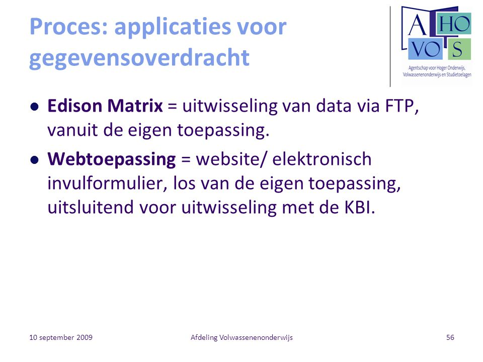 Proces: applicaties voor gegevensoverdracht