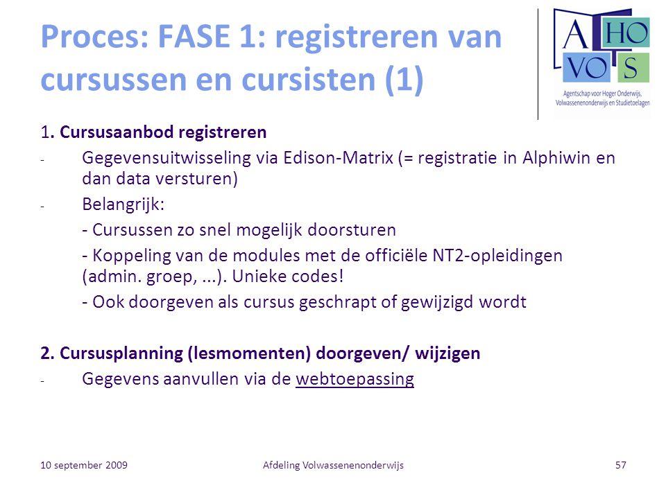 Proces: FASE 1: registreren van cursussen en cursisten (1)