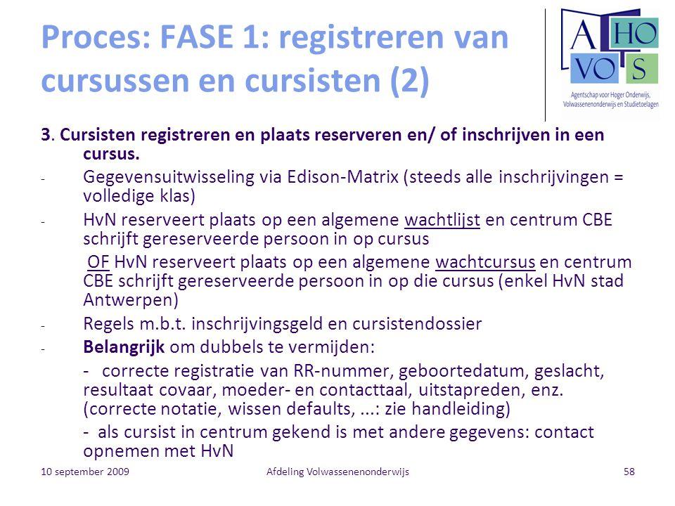 Proces: FASE 1: registreren van cursussen en cursisten (2)