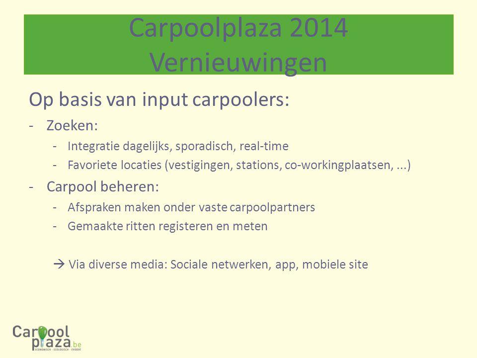 Carpoolplaza 2014 Vernieuwingen