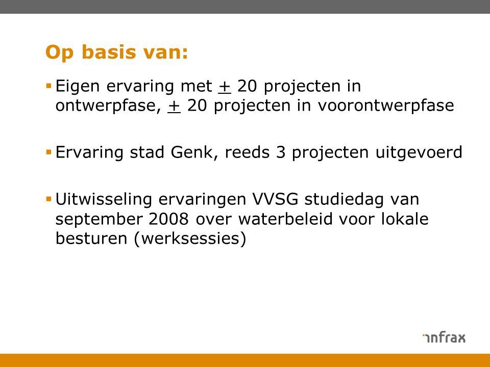 Op basis van: Eigen ervaring met + 20 projecten in ontwerpfase, + 20 projecten in voorontwerpfase. Ervaring stad Genk, reeds 3 projecten uitgevoerd.