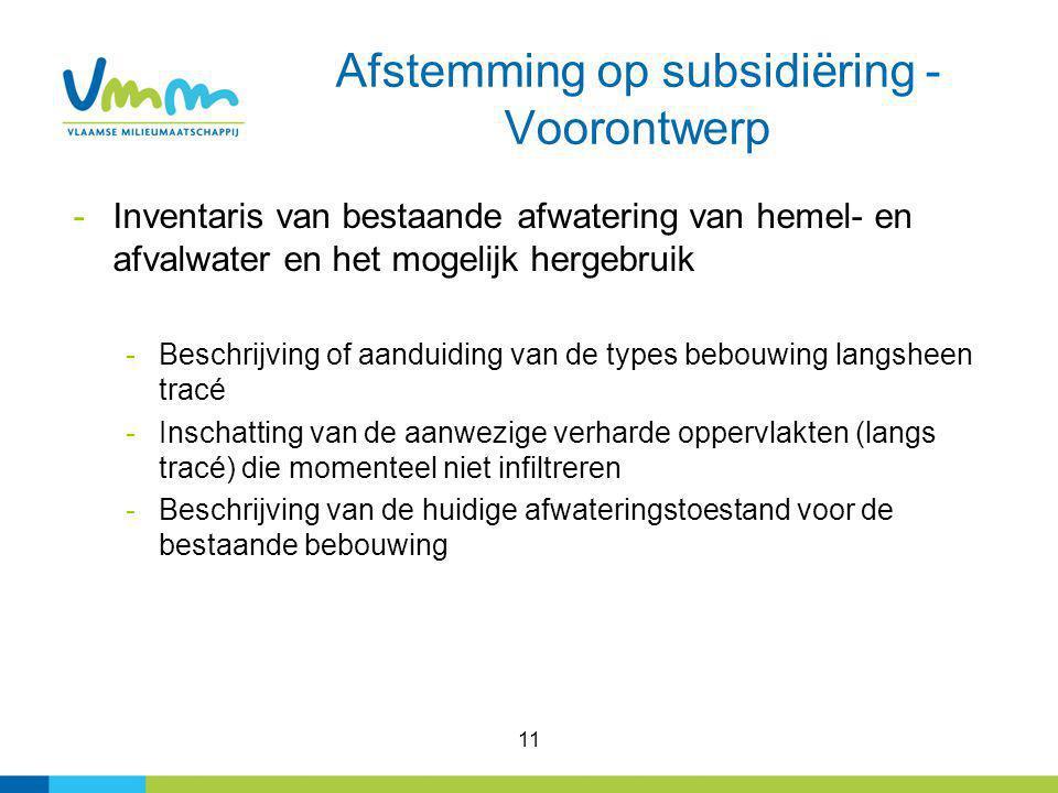 Afstemming op subsidiëring - Voorontwerp