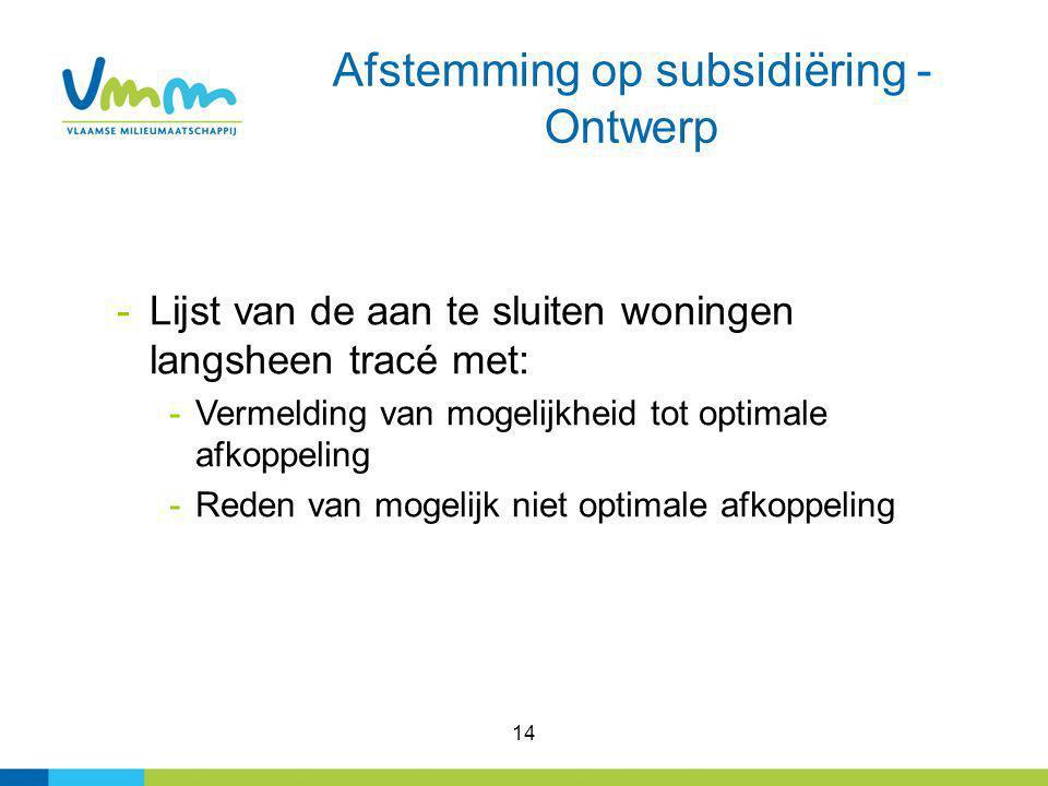 Afstemming op subsidiëring - Ontwerp