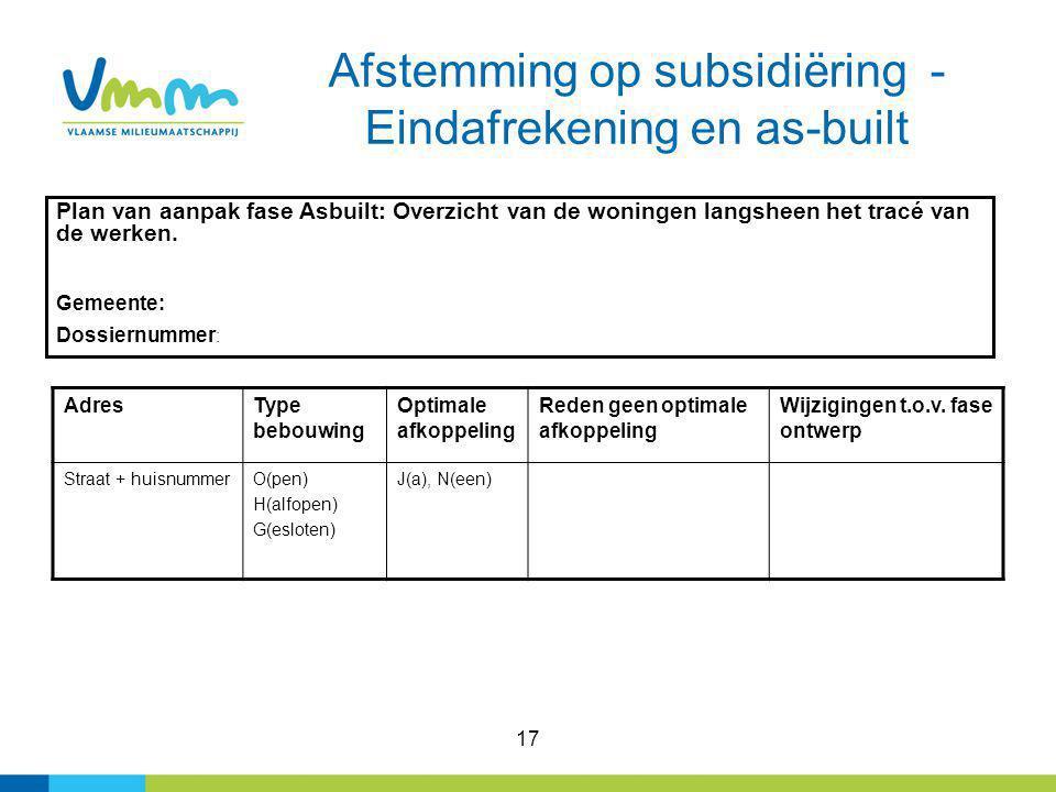 Afstemming op subsidiëring - Eindafrekening en as-built