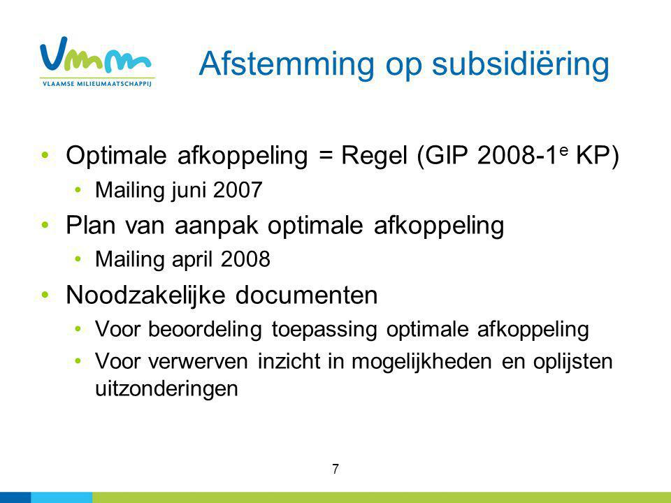 Afstemming op subsidiëring