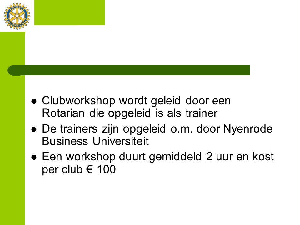 Clubworkshop wordt geleid door een Rotarian die opgeleid is als trainer
