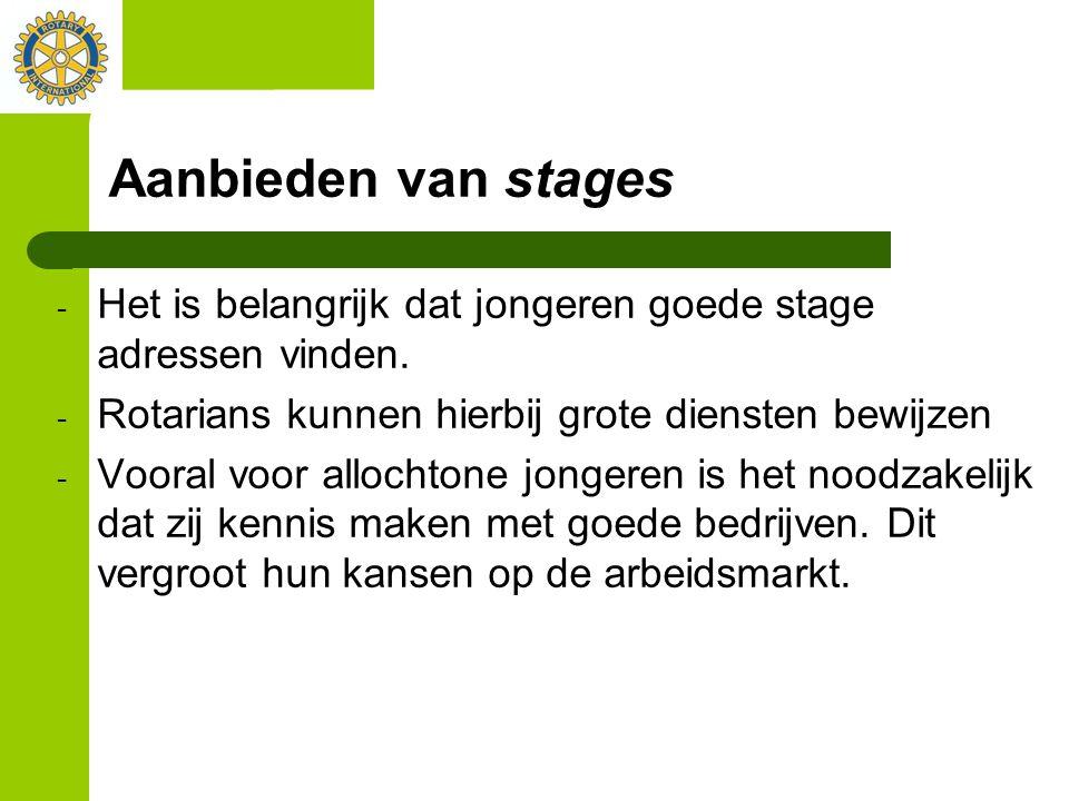 Aanbieden van stages Het is belangrijk dat jongeren goede stage adressen vinden. Rotarians kunnen hierbij grote diensten bewijzen.
