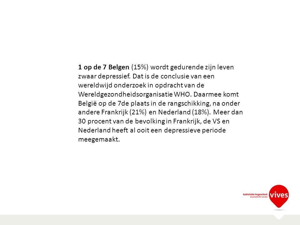 1 op de 7 Belgen (15%) wordt gedurende zijn leven zwaar depressief