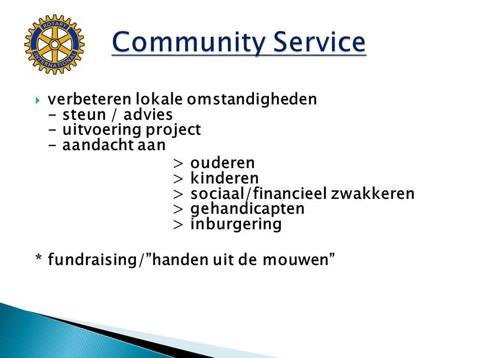 Community Service verbeteren lokale omstandigheden - steun / advies - uitvoering project - aandacht aan.