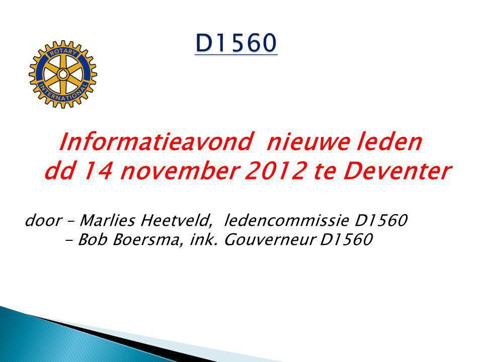 Informatieavond nieuwe leden dd 14 november 2012 te Deventer