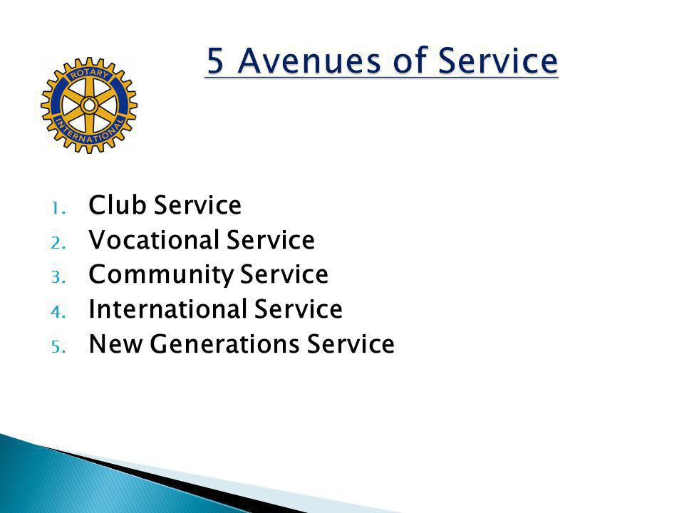5 Avenues of Service Club Service Vocational Service Community Service