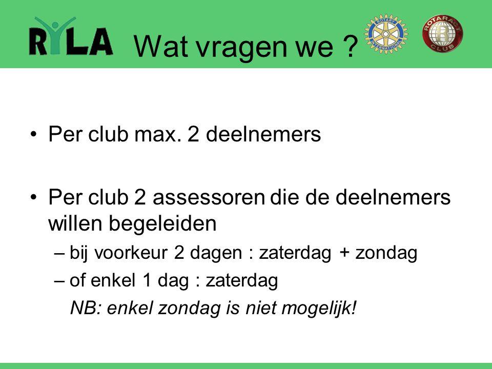 Wat vragen we Per club max. 2 deelnemers