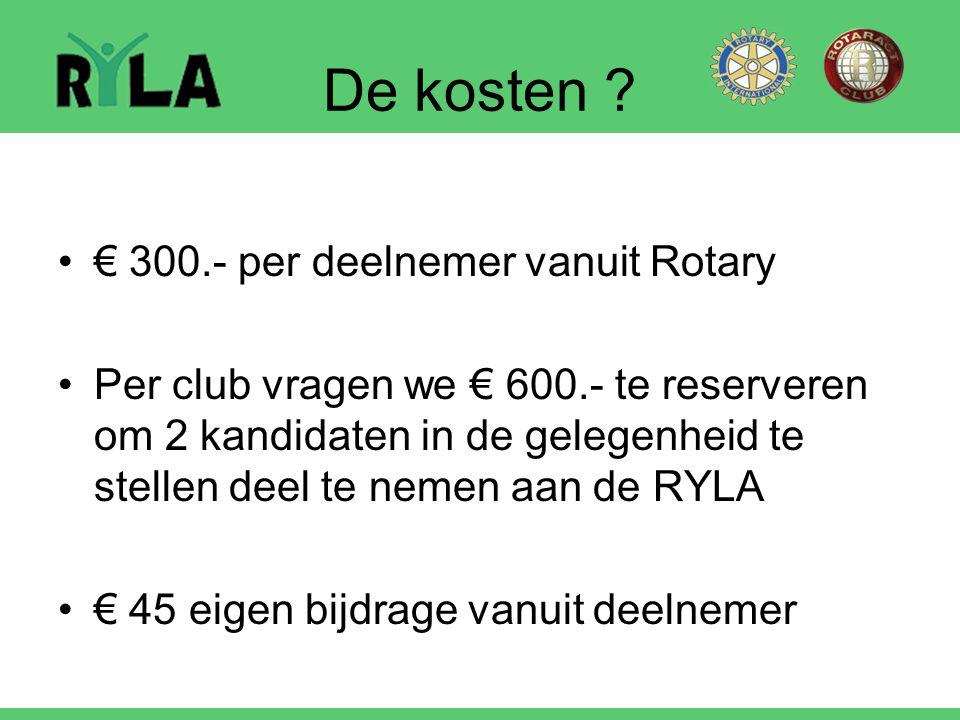 De kosten € 300.- per deelnemer vanuit Rotary
