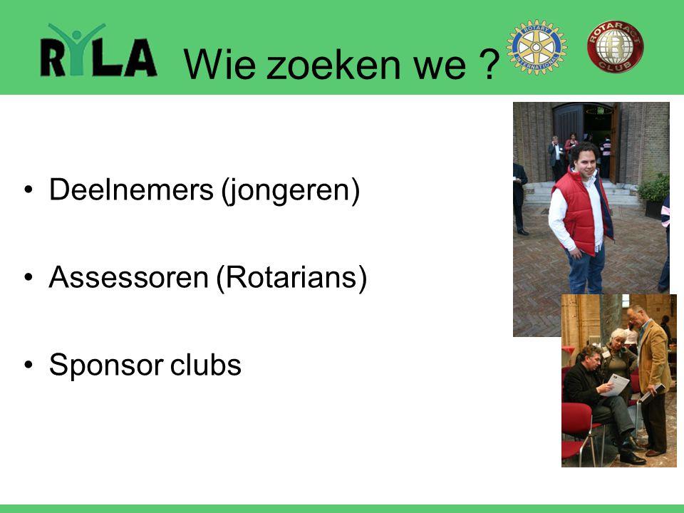 Wie zoeken we Deelnemers (jongeren) Assessoren (Rotarians)