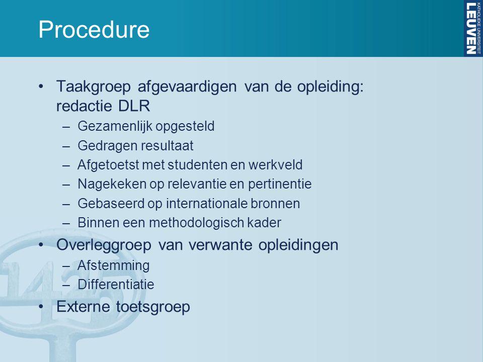 Procedure Taakgroep afgevaardigen van de opleiding: redactie DLR