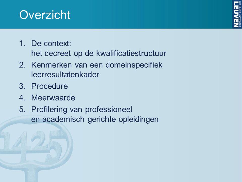 Overzicht De context: het decreet op de kwalificatiestructuur