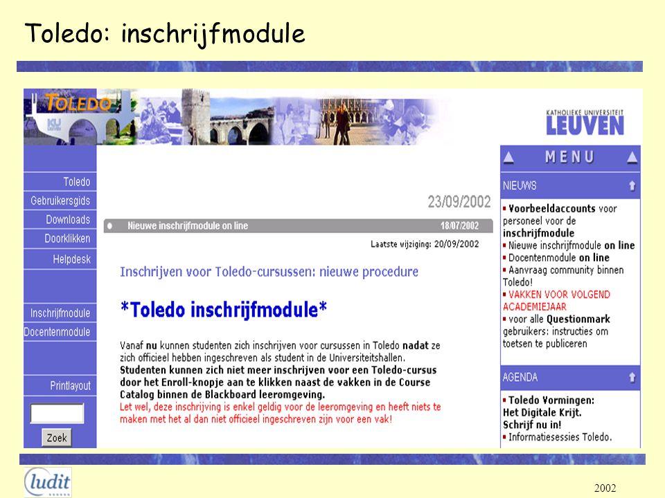 Toledo: inschrijfmodule