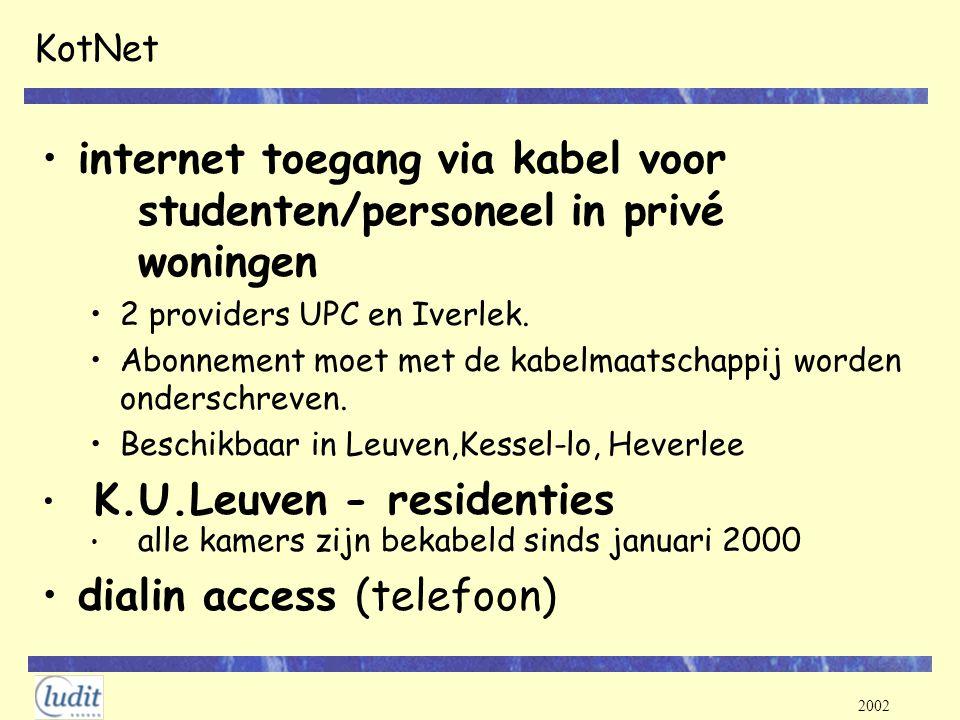 internet toegang via kabel voor studenten/personeel in privé woningen