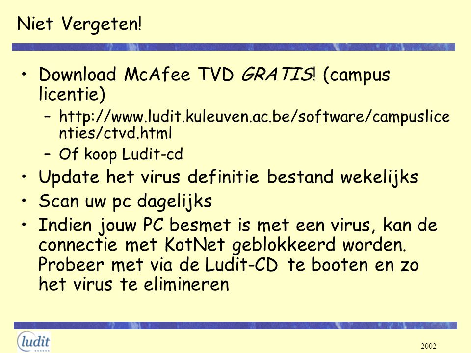 Download McAfee TVD GRATIS! (campus licentie)