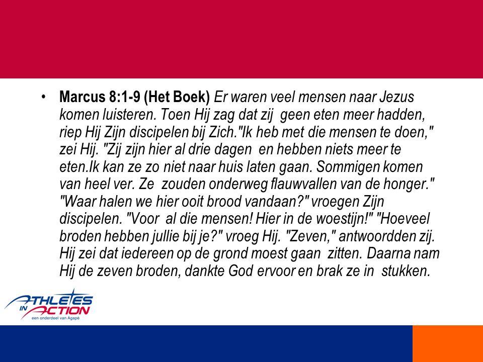 Marcus 8:1-9 (Het Boek) Er waren veel mensen naar Jezus komen luisteren.
