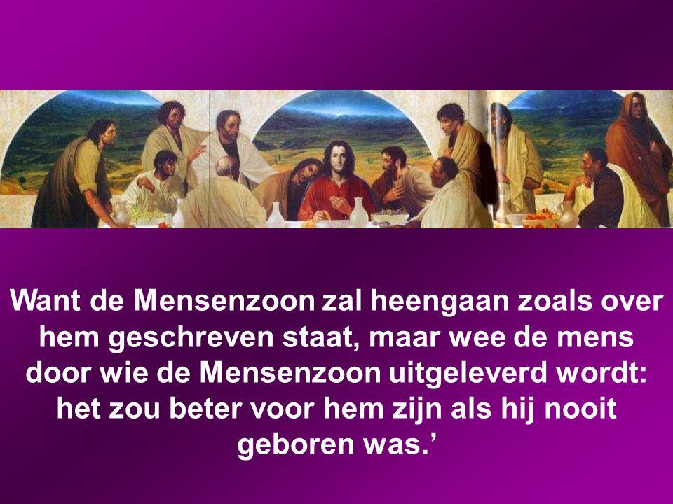Want de Mensenzoon zal heengaan zoals over hem geschreven staat, maar wee de mens door wie de Mensenzoon uitgeleverd wordt: het zou beter voor hem zijn als hij nooit geboren was.'