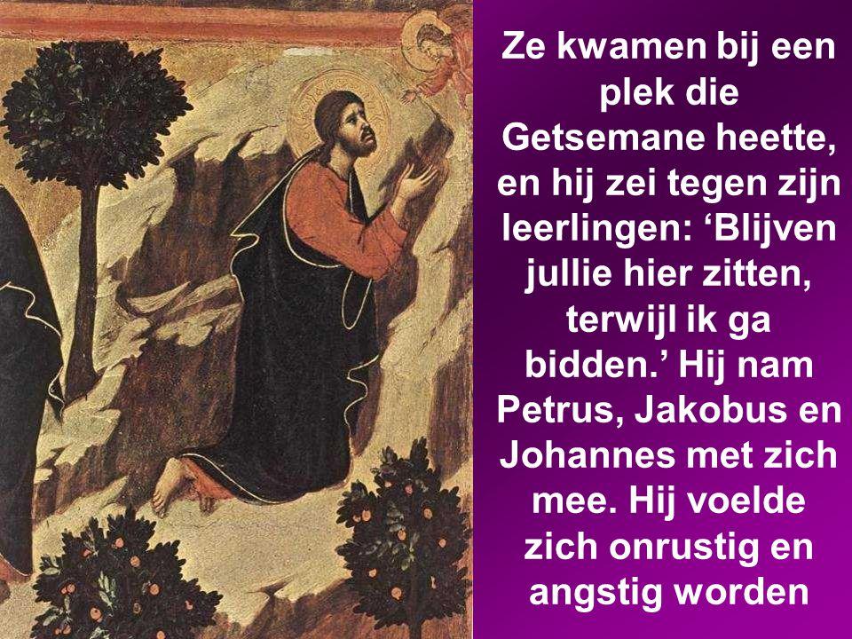 Ze kwamen bij een plek die Getsemane heette, en hij zei tegen zijn leerlingen: 'Blijven jullie hier zitten, terwijl ik ga bidden.' Hij nam Petrus, Jakobus en Johannes met zich mee.