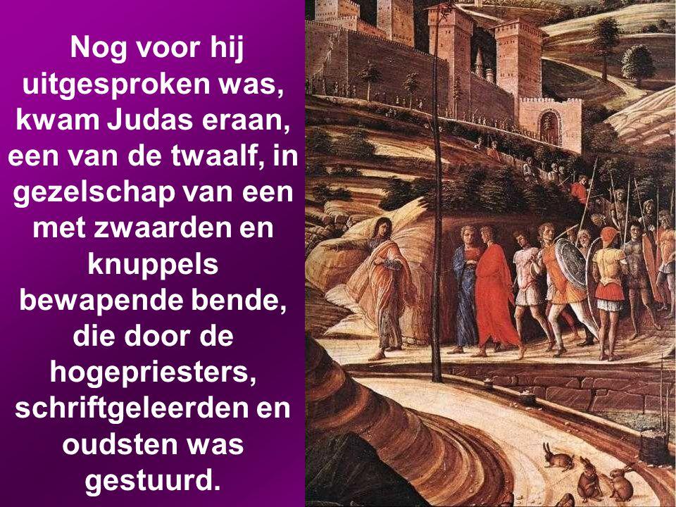 Nog voor hij uitgesproken was, kwam Judas eraan, een van de twaalf, in gezelschap van een met zwaarden en knuppels bewapende bende, die door de hogepriesters, schriftgeleerden en oudsten was gestuurd.