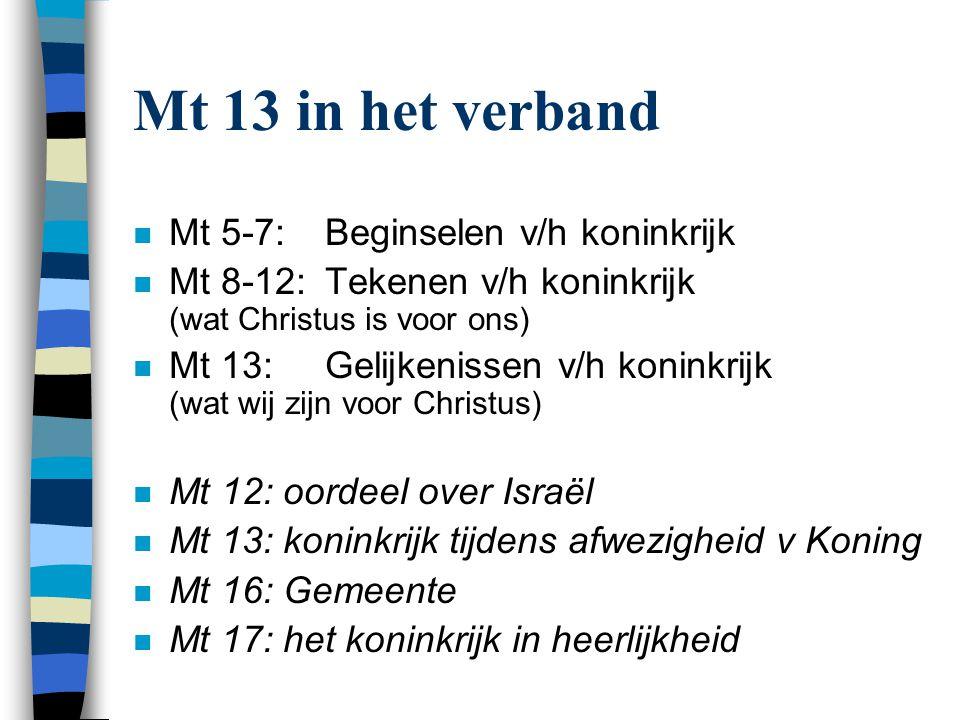 Mt 13 in het verband Mt 5-7: Beginselen v/h koninkrijk