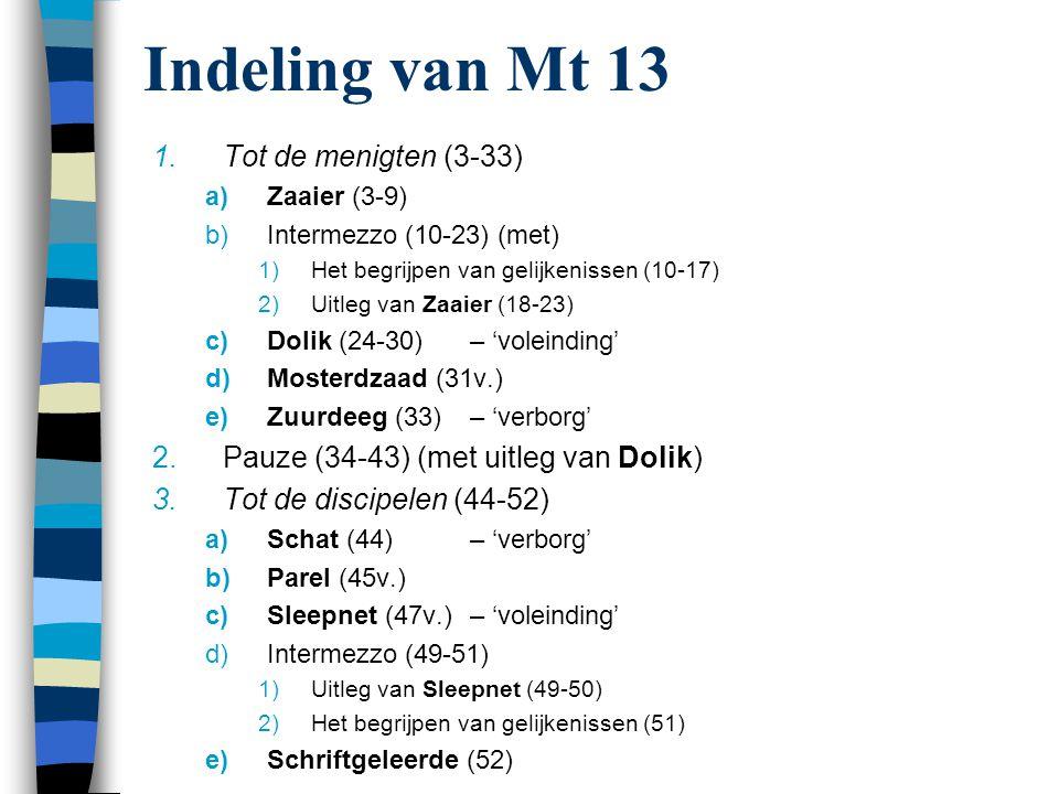 Indeling van Mt 13 Tot de menigten (3-33)