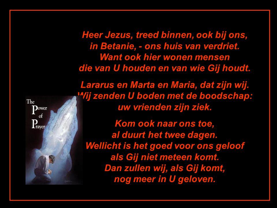 Heer Jezus, treed binnen, ook bij ons, in Betanie, - ons huis van verdriet. Want ook hier wonen mensen die van U houden en van wie Gij houdt.