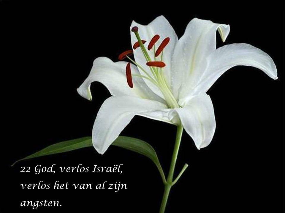22 God, verlos Israël, verlos het van al zijn angsten.