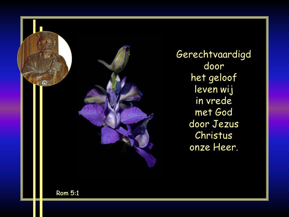 Gerechtvaardigd door het geloof leven wij in vrede met God door Jezus Christus onze Heer.