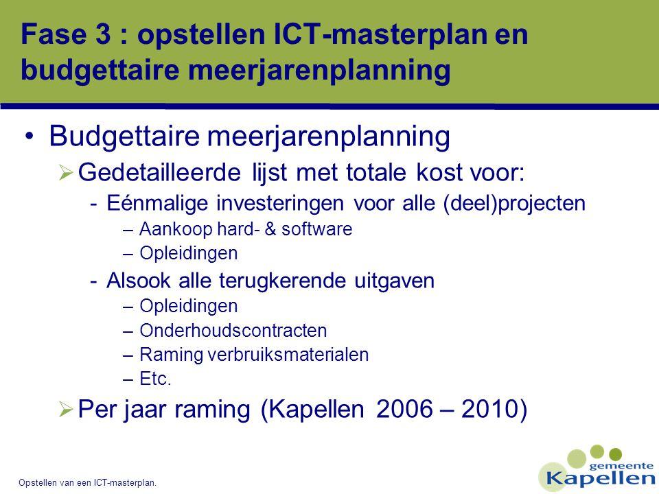 Fase 3 : opstellen ICT-masterplan en budgettaire meerjarenplanning